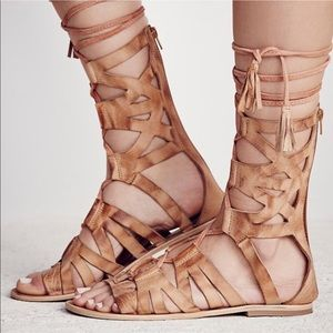 free people gladiator sandals brown